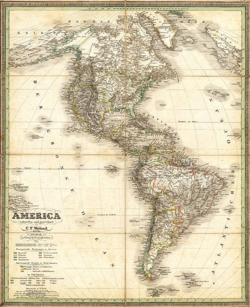 Wall Art - Painting - Antique Map Of Americas by Celestial Images