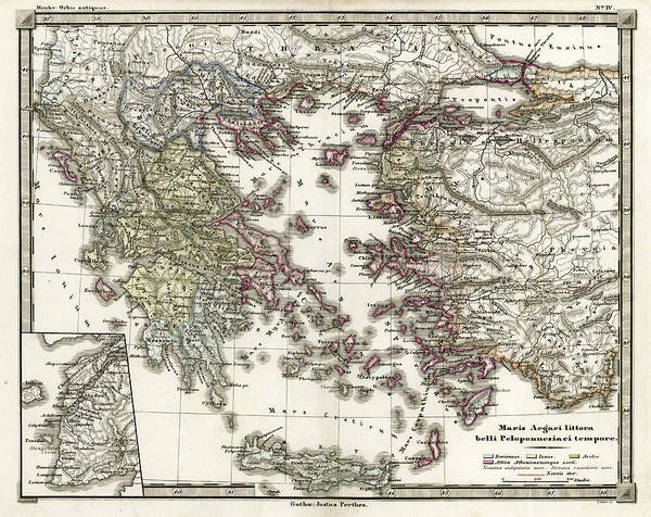 Ancient Digital Art - Antique Map Of Ancient Greece by Duncan1890