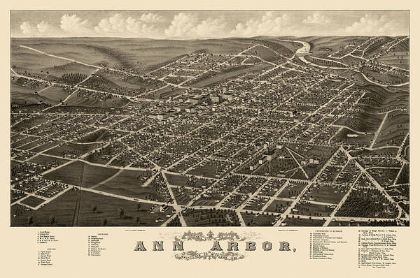 Arbor Wall Art - Drawing - Antique Map Of Ann Arbor Michigan By A. Ruger - 1880 by Blue Monocle