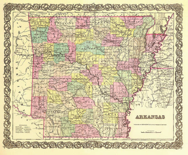 Collectible Art Drawing - Antique Map Of Arkansas 1855 by Mountain Dreams
