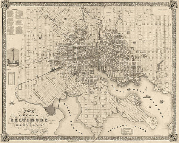 Wall Art - Drawing - Antique Map Of Baltimore Maryland By Sidney And Neff - 1851 by Blue Monocle