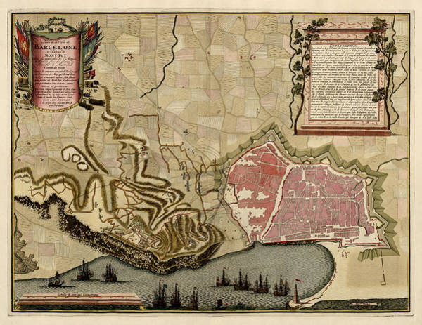 Vintage Map Drawing - Antique Map Of Barcelona Spain By Anna Beeck - Circa 1706 by Blue Monocle