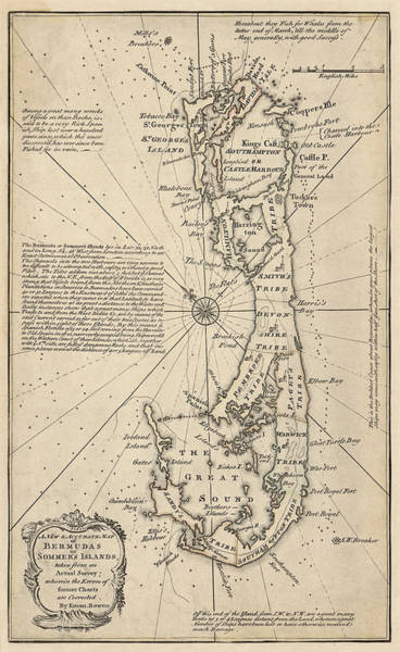 Wall Art - Drawing - Antique Map Of Bermuda By Emanuel Bowen - 1750 by Blue Monocle