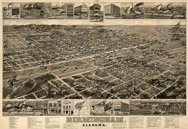 Birmingham Wall Art - Drawing - Antique Map Of Birmingham Alabama By H. Wellge - Circa 1885 by Blue Monocle
