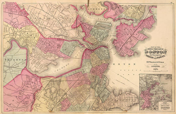 Wall Art - Photograph - Antique Map Of Boston - 1871 by Georgia Fowler