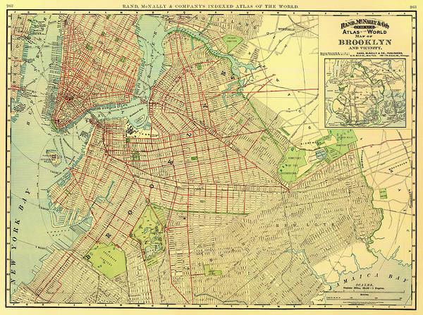 New York City Map Drawing - Antique Map Of Brooklyn 1897 by Mountain Dreams