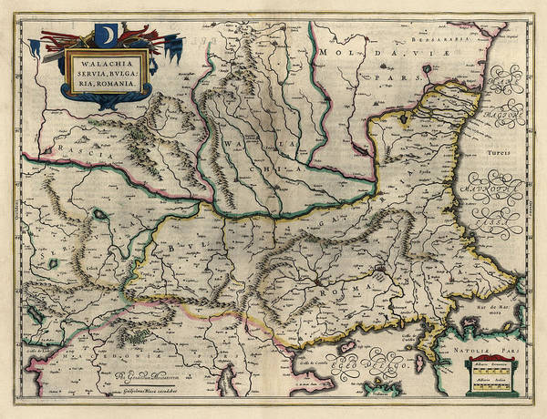 Wall Art - Drawing - Antique Map Of Bulgaria Romania And Serbia By Willem Janszoon Blaeu - 1647 by Blue Monocle
