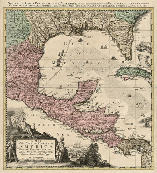 Honduras Wall Art - Drawing - Antique Map Of Central America By Henry Popple - Circa 1733 by Blue Monocle
