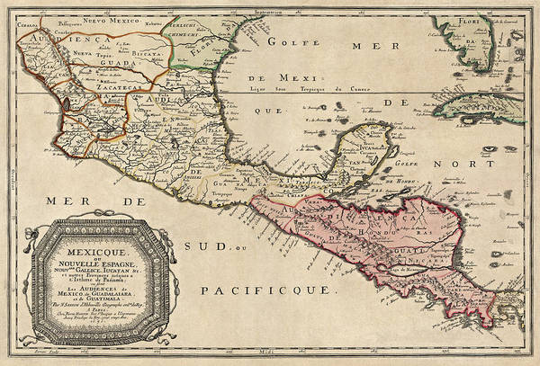 Honduras Wall Art - Drawing - Antique Map Of Central America By Nicolas Sanson - 1656 by Blue Monocle