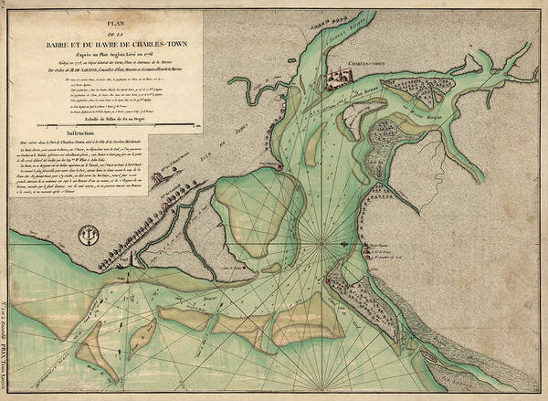 South Drawing - Antique Map Of Charleston Harbor South Carolina - 1778 by Blue Monocle