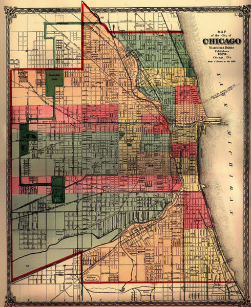 Collectible Art Drawing - Antique Map Of Chicago 1875 by Mountain Dreams