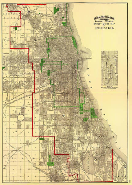 Vintage Chicago Drawing - Antique Map Of Chicago 1897 by Mountain Dreams