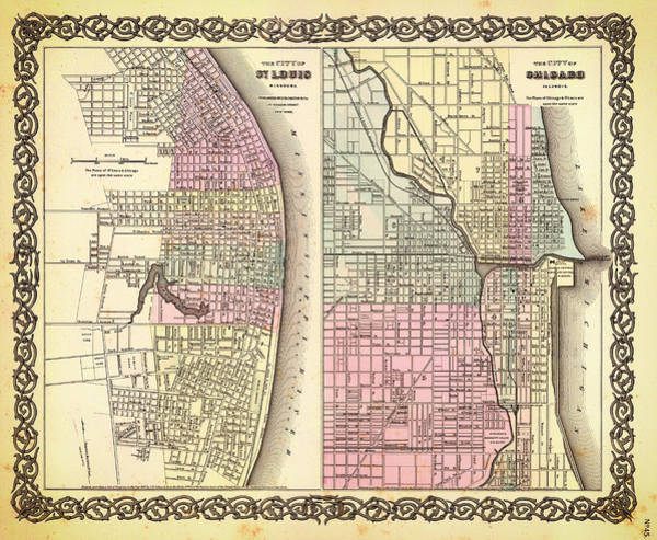 Vintage Chicago Drawing - Antique Map Of Chicago And St Louis 1855 by Mountain Dreams