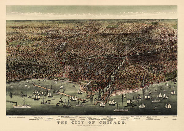 Eye Drawing - Antique Map Of Chicago By Currier And Ives - 1892 by Blue Monocle