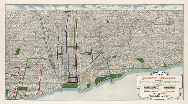 Vintage Chicago Drawing - Antique Map Of Chicago By Willis J. Champion - 1908 by Blue Monocle