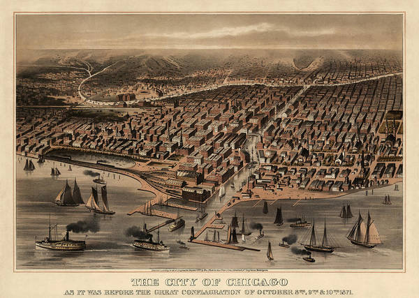 Vintage Chicago Drawing - Antique Map Of Chicago Illinois As It Appeared In 1871 Before The Fire by Blue Monocle