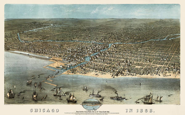 Vintage Chicago Drawing - Antique Map Of Chicago Illinois By A. Ruger - 1868 by Blue Monocle