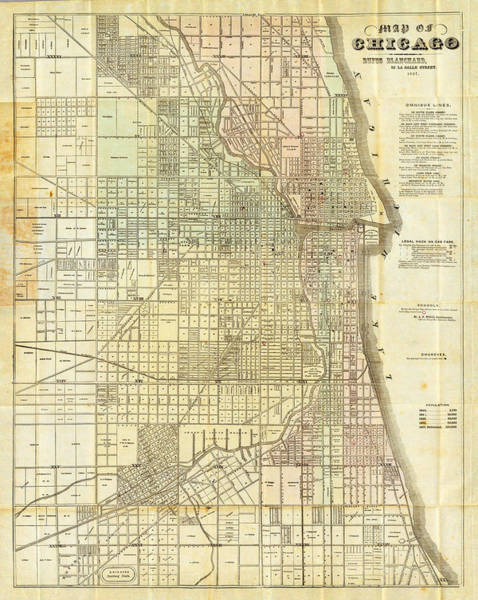 Wall Art - Painting - Antique Map Of Chicago by Celestial Images