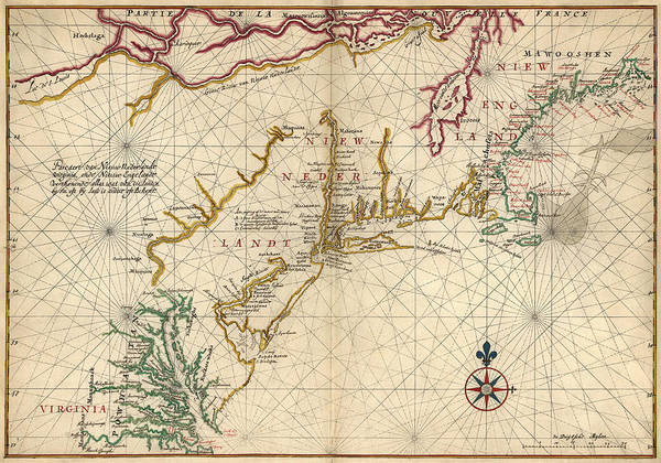 England Drawing - Antique Map Of Colonial America By Joan Vinckeboons - Circa 1639 by Blue Monocle