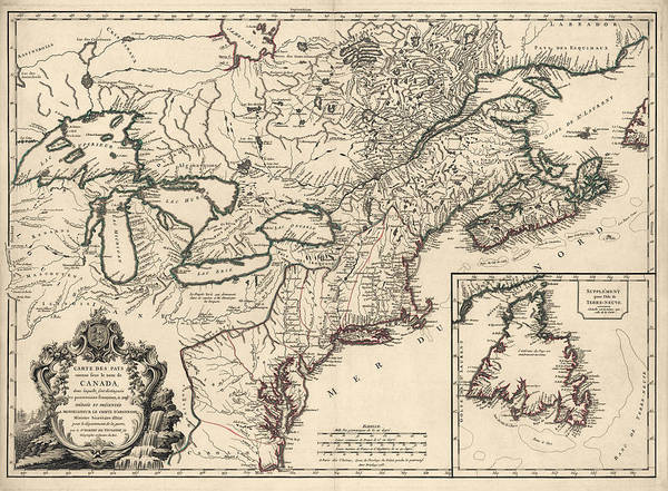 Atlantic Canada Wall Art - Drawing - Antique Map Of Colonial Canada And America By Didier Robert De Vaugondy - 1753 by Blue Monocle