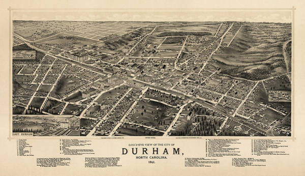 Durham Wall Art - Drawing - Antique Map Of Durham North Carolina By A. Ruger - 1891 by Blue Monocle