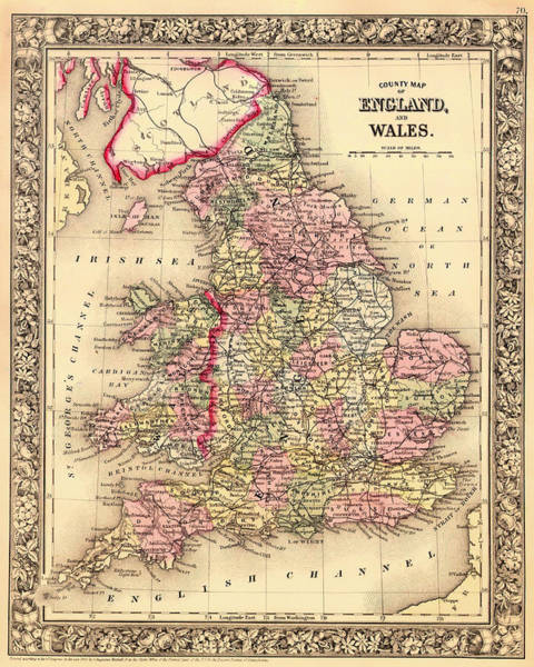 Collectible Art Drawing - Antique Map Of England And Wales 1864 by Mountain Dreams