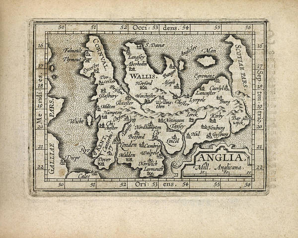 England Drawing - Antique Map Of England And Wales By Abraham Ortelius - 1603 by Blue Monocle