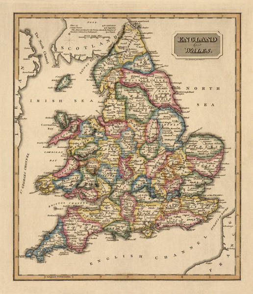 England Drawing - Antique Map Of England And Wales By Fielding Lucas - Circa 1817 by Blue Monocle