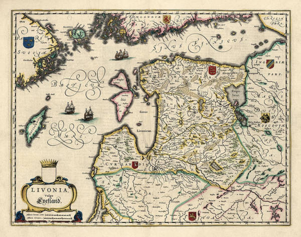 Wall Art - Drawing - Antique Map Of Estonia Latvia And Lithuania By Willem Janszoon Blaeu - 1647 by Blue Monocle