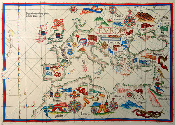 Collectible Art Drawing - Antique Map Of Europa 1563 by Mountain Dreams