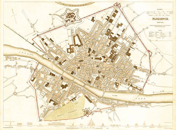 Collectible Art Drawing - Antique Map Of Florence Italy 1835 by Mountain Dreams