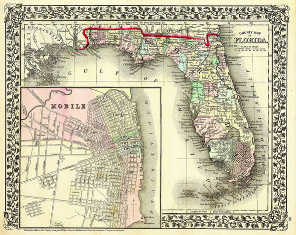 Physical Features Drawing - Antique Map Of Florida 1874 by Mountain Dreams