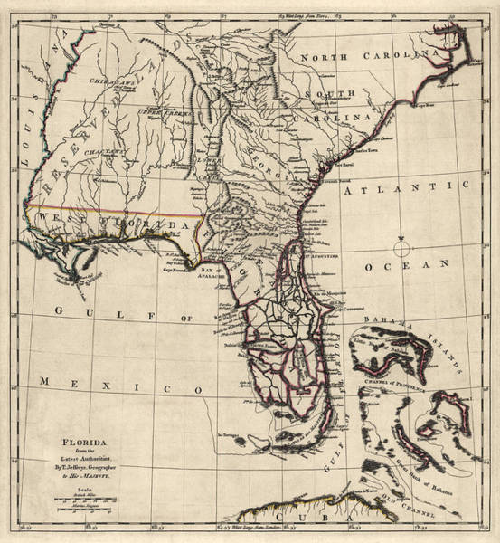 South Florida Wall Art - Drawing - Antique Map Of Florida And The Southeast By Thomas Jefferys - 1768 by Blue Monocle