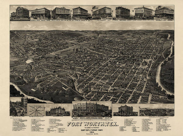 Eye Drawing - Antique Map Of Fort Worth Texas By H. Wellge - 1886 by Blue Monocle
