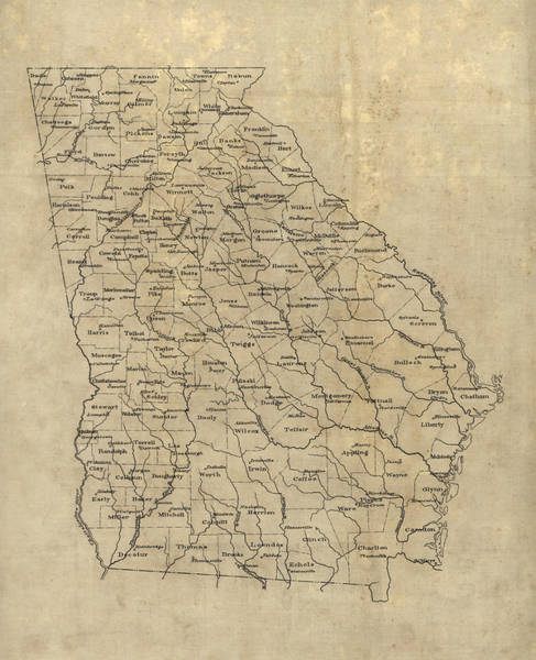 Wall Art - Drawing - Antique Map Of Georgia - 1893 by Blue Monocle