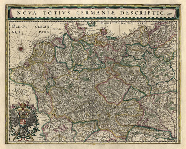Wall Art - Drawing - Antique Map Of Germany By Willem Janszoon Blaeu - 1647 by Blue Monocle