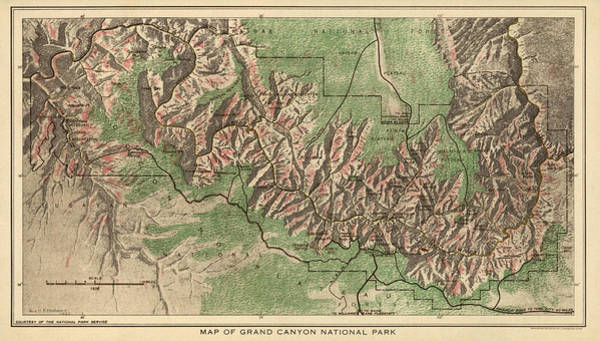 Wall Art - Drawing - Antique Map Of Grand Canyon National Park By The National Park Service - 1926 by Blue Monocle