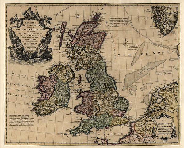England Drawing - Antique Map Of Great Britain And Ireland By Guillaume Delisle - Circa 1730 by Blue Monocle