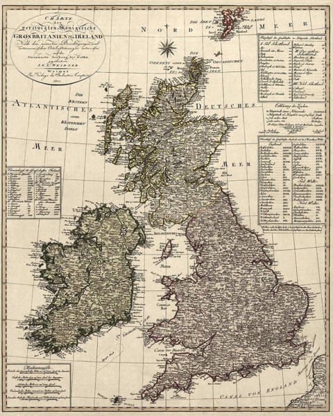 England Drawing - Antique Map Of Great Britain And Ireland By I. G. A. Weidner - 1801 by Blue Monocle