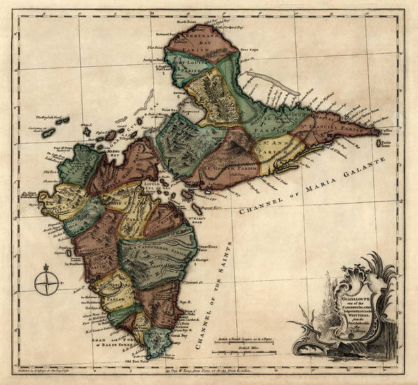 Wall Art - Drawing - Antique Map Of Guadeloupe By Thomas Jefferys - 1768 by Blue Monocle