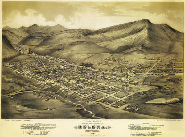 Montana Drawing - Antique Map Of Helena Montana 1875 by Mountain Dreams