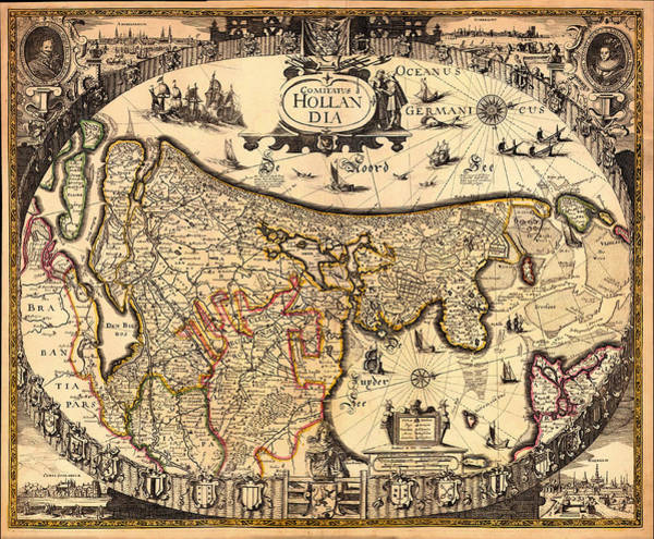 Physical Features Drawing - Antique Map Of Holland 1630 by Mountain Dreams