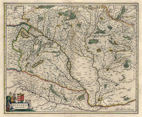 Wall Art - Drawing - Antique Map Of Hungary By Willem Janszoon Blaeu - 1647 by Blue Monocle