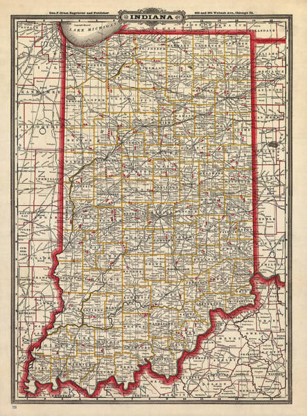 Wall Art - Drawing - Antique Map Of Indiana By George Franklin Cram - 1888 by Blue Monocle