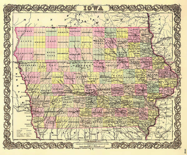Collectible Art Drawing - Antique Map Of Iowa 1855 by Mountain Dreams