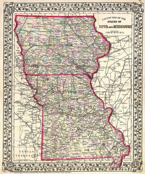 Physical Features Drawing - Antique Map Of Iowa And Missouri 1874 by Mountain Dreams