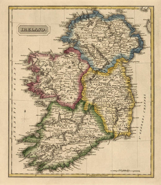 Vintage Map Drawing - Antique Map Of Ireland By Fielding Lucas - Circa 1817 by Blue Monocle