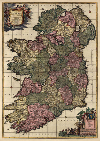 Wall Art - Drawing - Antique Map Of Ireland By Frederik De Wit - Circa 1700 by Blue Monocle