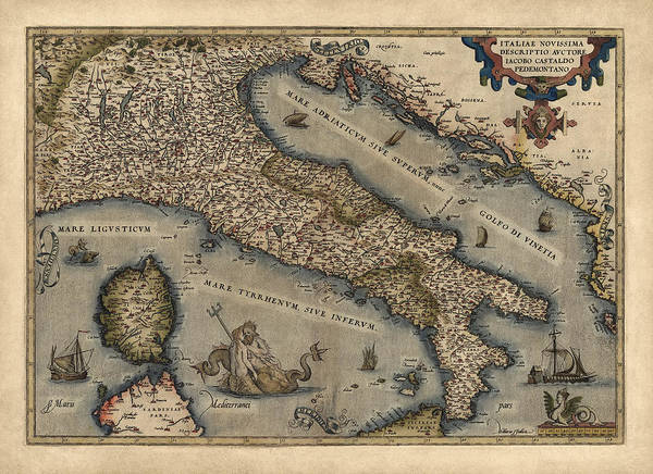 Italy Drawing - Antique Map Of Italy By Abraham Ortelius - 1570 by Blue Monocle