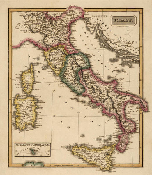 Wall Art - Drawing - Antique Map Of Italy By Fielding Lucas - Circa 1817 by Blue Monocle